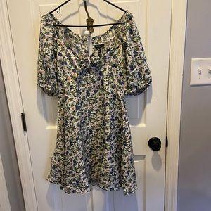 New Look Puff Sleeve Tie Front Mini Dress NWT 10